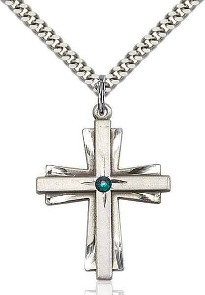 Large Women's Cross on Cross Pendant with Birthstone Options - Emerald Green
