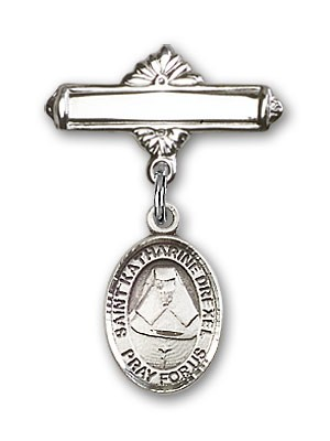 Pin Badge with St. Katherine Drexel Charm and Polished Engravable Badge Pin - Silver tone