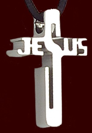 "Stainless Steel Jesus Cross Pendant - 1 1/4""H - Silver"