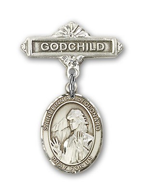 Pin Badge with St. Finnian of Clonard Charm and Godchild Badge Pin - Silver tone