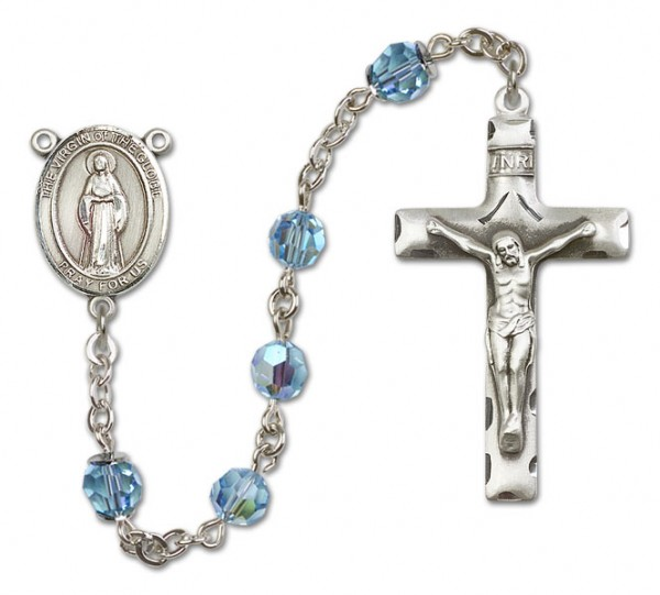 Virgin of the Globe Sterling Silver Heirloom Rosary Squared Crucifix - Aqua