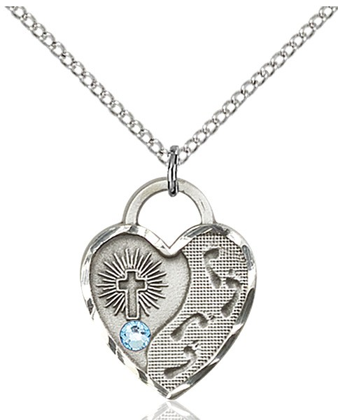Heart Shaped Footprints Pendant with Birthstone Options - Aqua