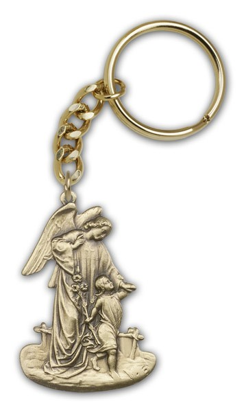 Guardian Angel Keychain - Antique Gold