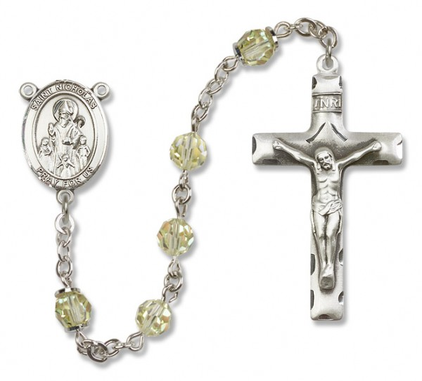 St. Nicholas Sterling Silver Heirloom Rosary Squared Crucifix - Jonquil