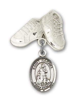 Pin Badge with St. Rachel Charm and Baby Boots Pin - Silver tone