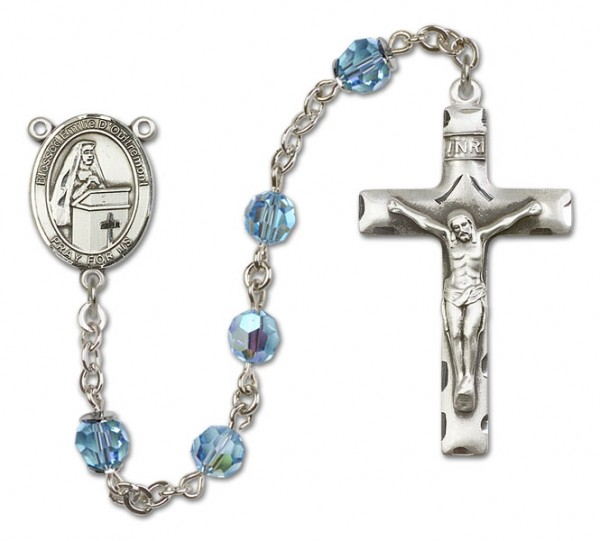 Emilee Doultremont Sterling Silver Heirloom Rosary Squared Crucifix - Aqua