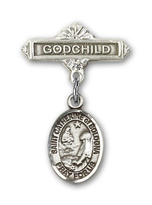 Pin Badge with St. Catherine of Bologna Charm and Godchild Badge Pin - Silver tone