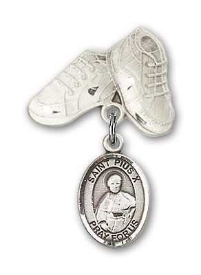 Pin Badge with St. Pius X Charm and Baby Boots Pin - Silver tone