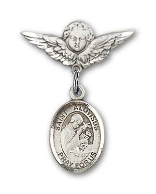 Pin Badge with St. Aloysius Gonzaga Charm and Angel with Smaller Wings Badge Pin - Silver tone