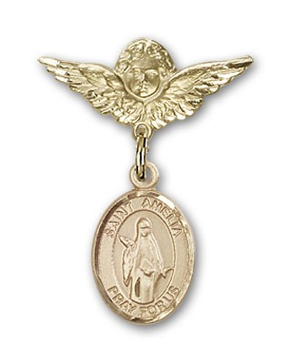 Pin Badge with St. Amelia Charm and Angel with Smaller Wings Badge Pin - 14K Solid Gold