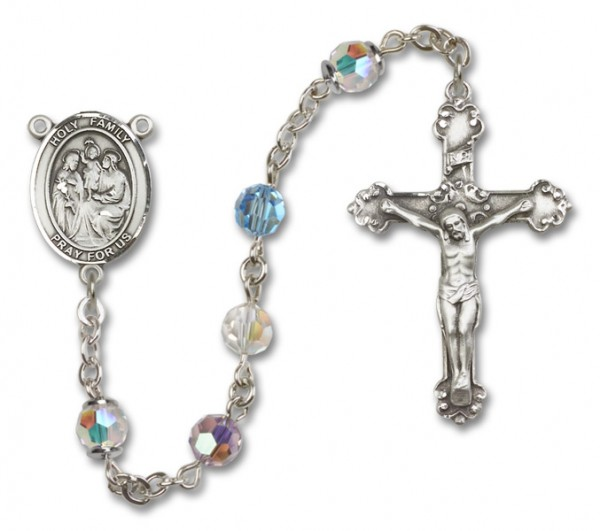 Holy Family Sterling Silver Heirloom Rosary Fancy Crucifix - Multi-Color