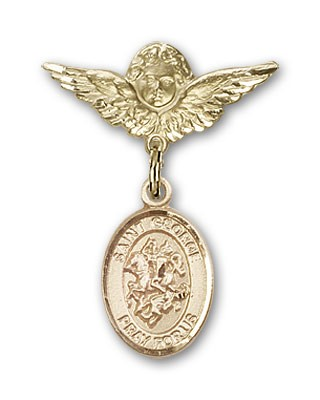 Pin Badge with St. George Charm and Angel with Smaller Wings Badge Pin - 14K Yellow Gold