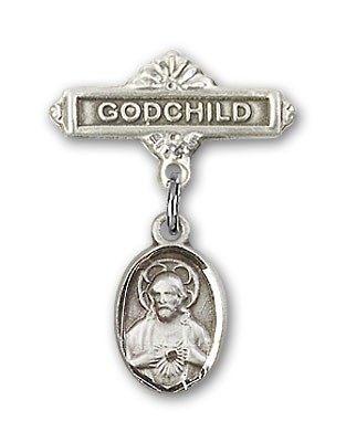 Baby Pin with Scapular Charm and Godchild Badge Pin - Silver tone