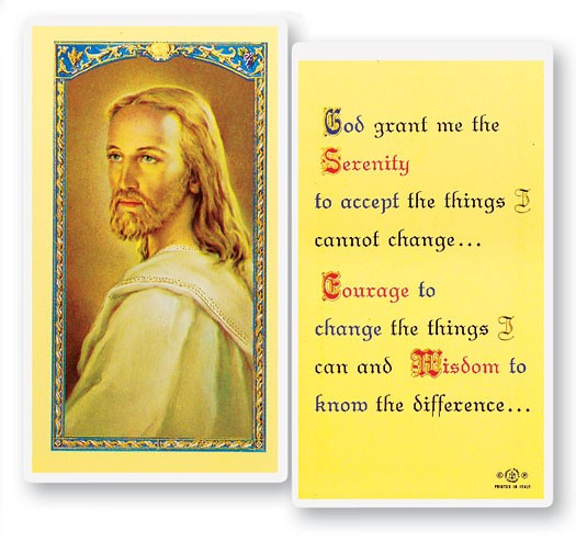 Serenity Prayer with Head of Christ Laminated Prayer Cards 25 Pack - Full Color