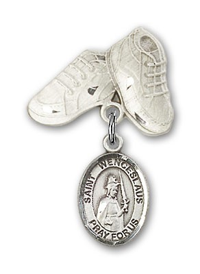Pin Badge with St. Wenceslaus Charm and Baby Boots Pin - Silver tone