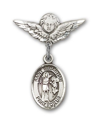 Pin Badge with St. Sebastian Charm and Angel with Smaller Wings Badge Pin - Silver tone