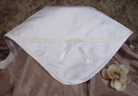 Girls Silk Dupioni Baptism Blanket with Venise Trim and Bow - Diamond White