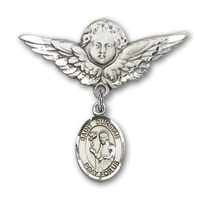 Pin Badge with St. Dunstan Charm and Angel with Larger Wings Badge Pin - Silver tone