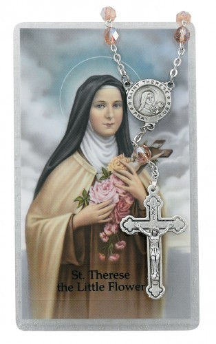 St. Therese Auto Rosary with Prayer Card - Pink