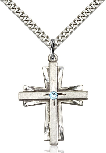 Large Women's Cross on Cross Pendant with Birthstone Options - Aqua