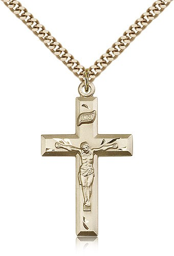 Classic Block Style Crucifix Medal - 14KT Gold Filled