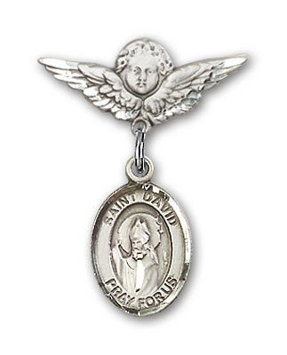 Pin Badge with St. David of Wales Charm and Angel with Smaller Wings Badge Pin - Silver tone
