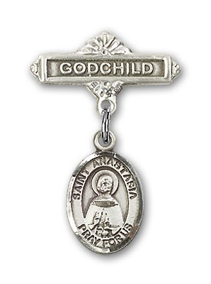 Pin Badge with St. Anastasia Charm and Godchild Badge Pin - Silver tone
