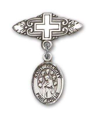 Pin Badge with St. Felicity Charm and Badge Pin with Cross - Silver tone