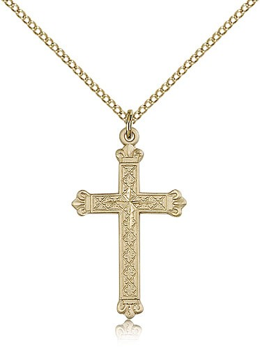 Women's Ornate Cross Necklace - 14KT Gold Filled