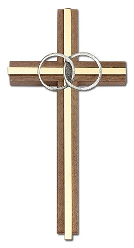 "Marriage Cross with Eternity Rings in Walnut 6"" - Two-Tone Gold"