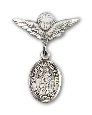 Pin Badge with St. Peter Nolasco Charm and Angel with Smaller Wings Badge Pin - Silver tone