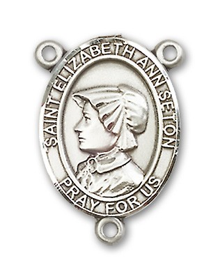 St. Elizabeth Ann Seton Rosary Centerpiece Sterling Silver or Pewter - Sterling Silver