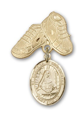 Pin Badge with St. Edburga of Winchester Charm and Baby Boots Pin - 14K Yellow Gold