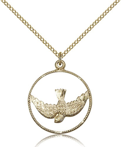 Women's Open Circle Holy Spirit Medal - 14KT Gold Filled