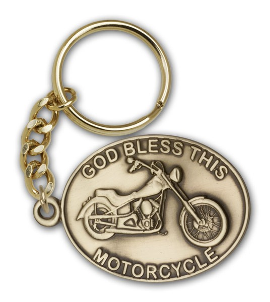 God Bless This Motorcycle Keychain - Antique Gold