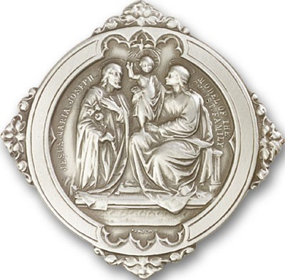 Holy Family Visor Clip - Antique Silver