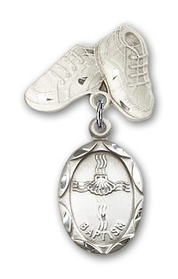 Baby Pin with Baptism Charm and Baby Boots Pin - Silver tone