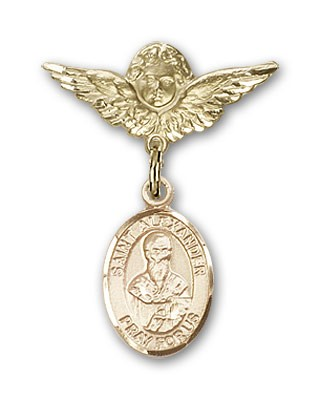 Pin Badge with St. Alexander Sauli Charm and Angel with Smaller Wings Badge Pin - 14K Yellow Gold