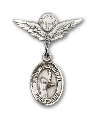 Pin Badge with St. Bernadette Charm and Angel with Smaller Wings Badge Pin - Silver tone