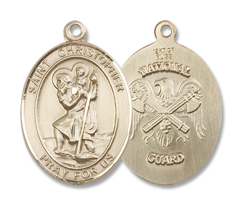 St. Christopher National Guard Medal - 14K Solid Gold