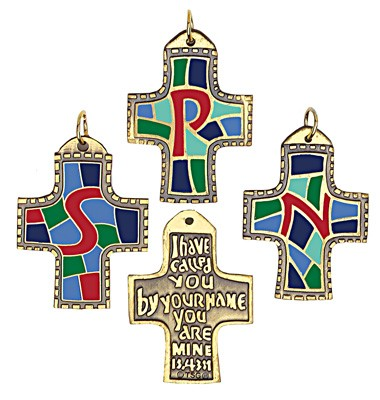 Confirmation Pendants with Free Initial Personalization - Multi-Color