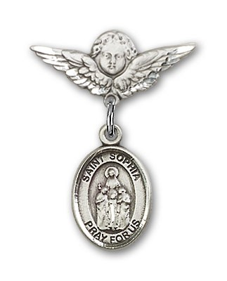 Pin Badge with St. Sophia Charm and Angel with Smaller Wings Badge Pin - Silver tone