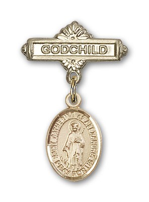 Pin Badge with St. Catherine of Alexandria Charm and Godchild Badge Pin - Gold Tone