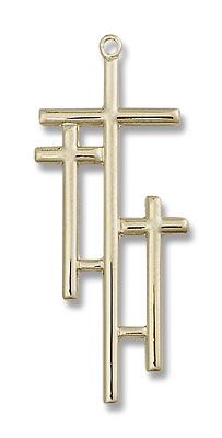 Calvary Three Cross Pendant - 14KT Gold Filled