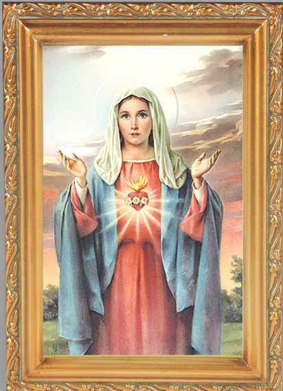 Immaculate Heart of Mary Antique Gold Framed Print - Full Color