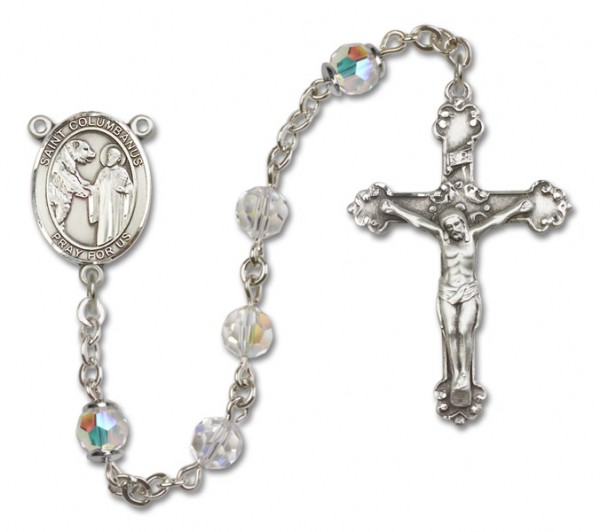 St. Columbanus Sterling Silver Heirloom Rosary Fancy Crucifix - Crystal