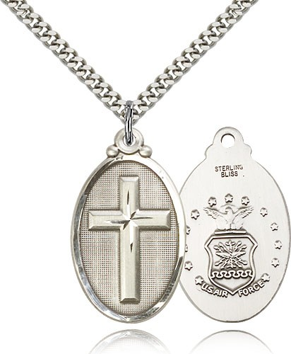 Cross Air Force Pendant - Sterling Silver