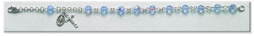 Rosary Bracelet - Sterling Silver with 6mm Light Sapphire Crystal Swarovski Beads - Light Sapphire
