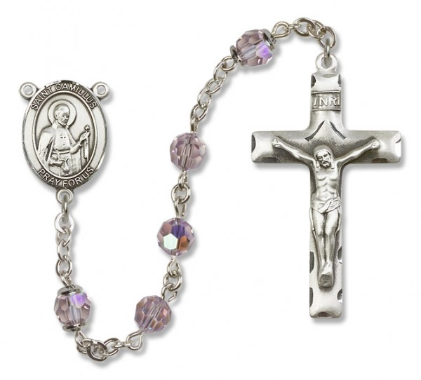 St. Camillus of Lellis Sterling Silver Heirloom Rosary Squared Crucifix - Light Amethyst