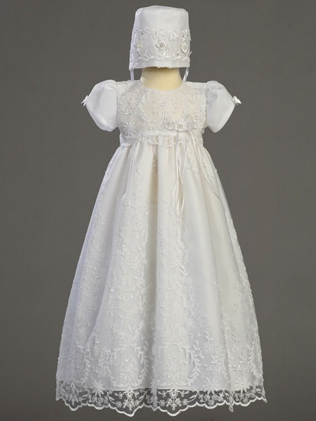 Sofia Embroidered Tulle Daylength Baptism Dress with Beadwork  - White